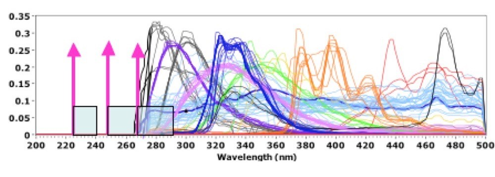 Figure 1.  Range of autofluorescence emission for a   range of materials compared to deep UV Raman emission ranges with excitation at 224nm, 248nm, and 266nm lasers
